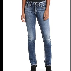 Silver Elyse straight distressed midrise jeans